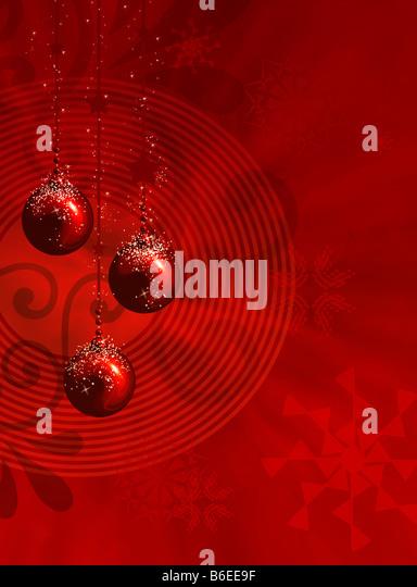 Rot Weihnachten Illustration mit Kugeln Sterne und Schneeflocken Stockbild