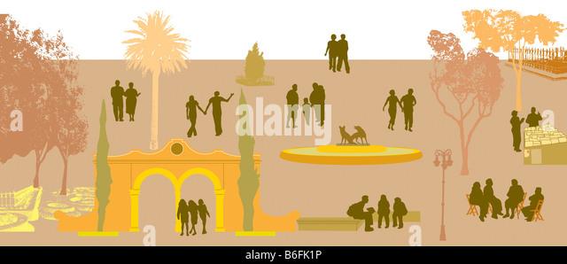 Abbildung Stadt, Verkehr und Menschen Stockbild