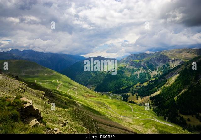 Blick von der Route De La Bonette in den Alpes Maritimes, PACA, Frankreich Stockbild