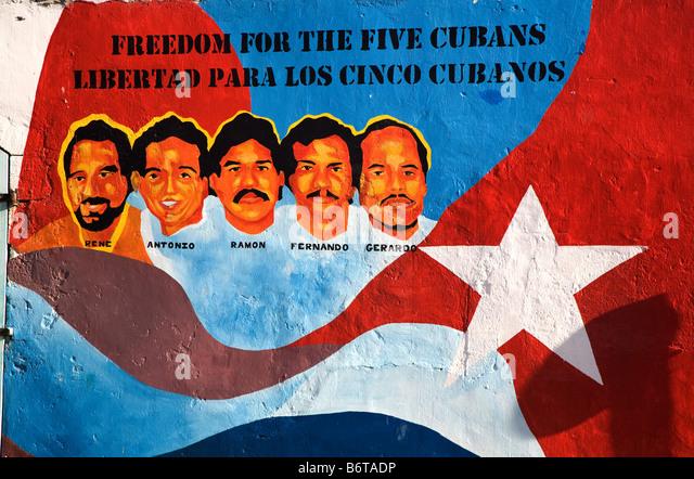 """Plakat für die """"fünf Kubaner"""" Bonaire, Caribbean. Stockbild"""
