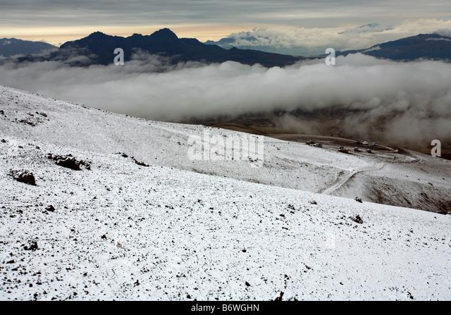 Blick vom Vulkan Cotopaxi in den ecuadorianischen Anden Stockbild