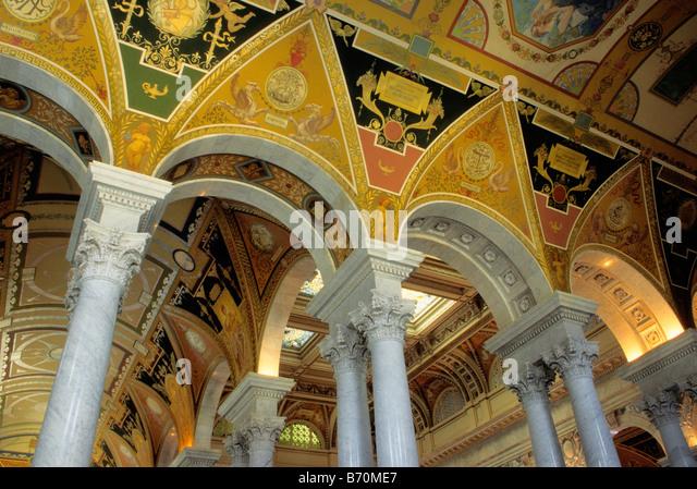 USA Vereinigte Staaten Bibliothek des Kongress-Gebäude innen Detail Stockbild