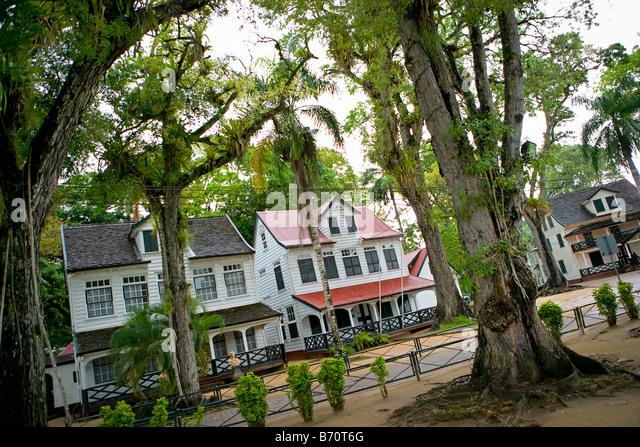 Paramaribo, Surinam-historische Häuser in der Nähe von alten Fort Zeelandia genannt. Stockbild