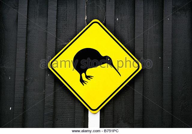 Neuseeland, Nordinsel, Rotorua, Kiwi Straßenschild. Stockbild