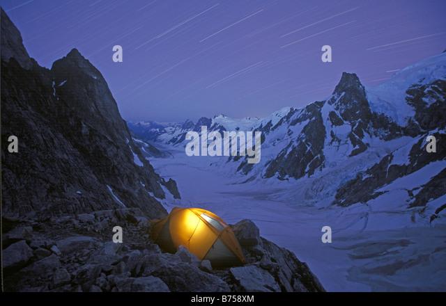 Camping, Waddington Range, BC, Kanada Stockbild