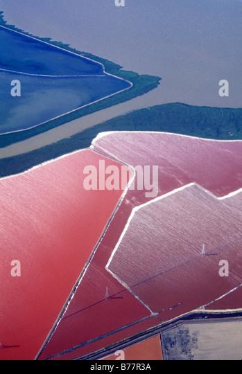 Antenne, Salz verdampft Teiche, Bucht von San Francisco Kalifornien Stockbild