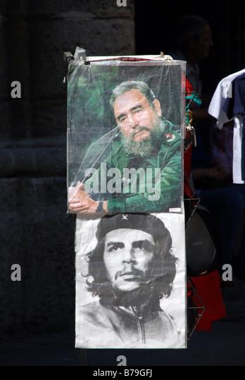 Che Guevara und Fidel Castro Poster Stockbild