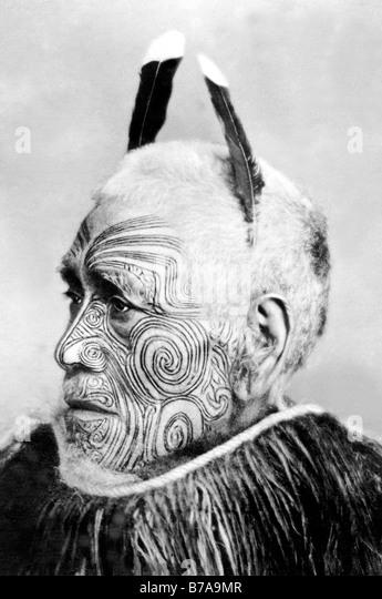 Historisches Foto, tätowierte Stammesführer, Maori, ca. 1900 Stockbild