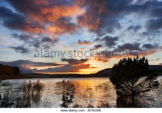 Clatteringshaw Loch, Dumfries and Galloway, Schottland, Großbritannien Stockbild