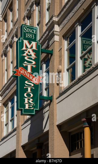 Der Mast Gemischtwarenladen auf Gay Street in der Innenstadt von Knoxville Tennessee Stockbild