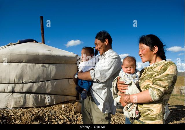 Mongolische Familie Stockbild