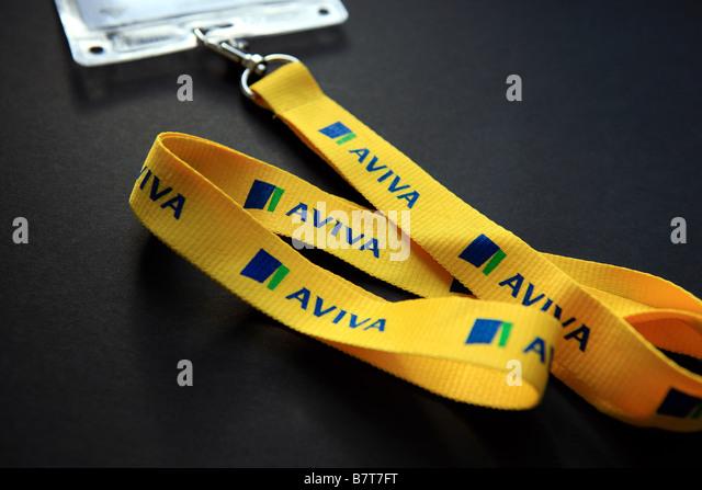 Aviva Hals Schlüsselband und Sicherheit übergeben Stockbild