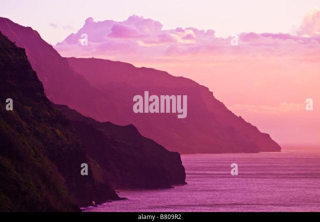 Abendlicht an der Na Pali Küste Insel Kauai Hawaii Stockbild