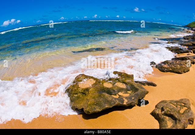 Larsens Beach North Shore Insel Kauai Hawaii Stockbild