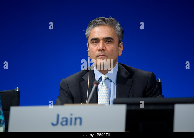 Anshu Jain während der Bilanzpressekonferenz der Deutschen Bank AG Stockbild