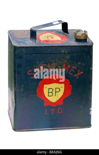 Container Erdöl Benzin kann Diesel Gas Erbe historische Artefakte historische alte altmodische Mode Dosen Transport Stockbild