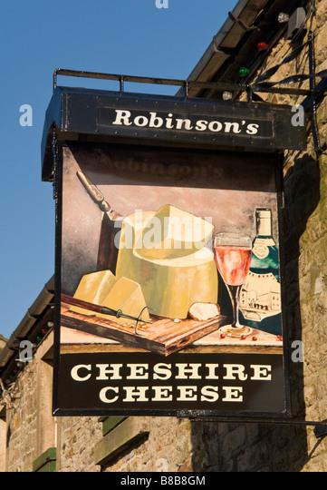 Cheshire Cheese Gastwirtschaft Schild, Dorf Longnor, Peak District National Park, Derbyshire, England, Vereinigtes Stockbild