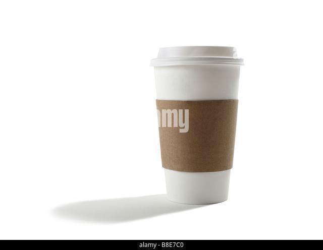Studioaufnahme des Nehmens Einweg Kaffee Becher Stockbild