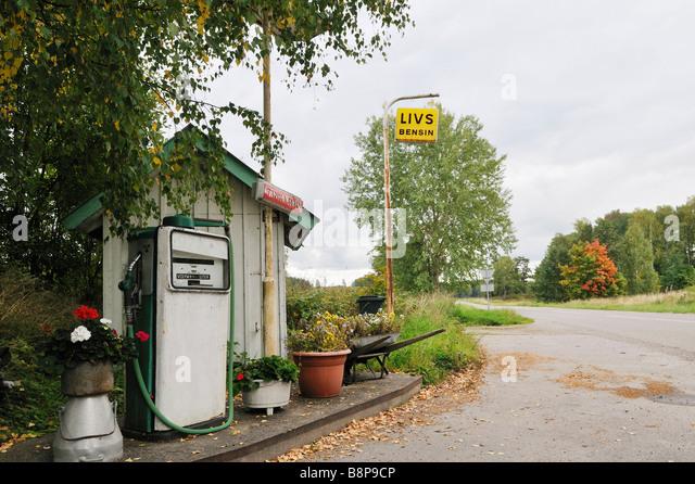 Kleine Tankstelle Schweden September 2008 Stockbild