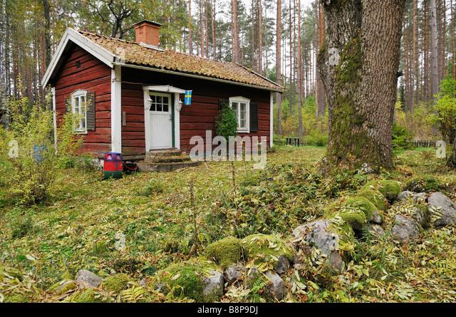 Kleine Holz-Ferienhaus in der Nähe von Katrineholm Schweden September 2008 Stockbild