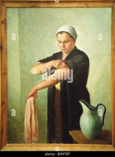 Nach der Arbeit O Yanovskaya angezeigt auf der Messe weiblich Kunst staatliche Tretjakow-Galerie Stockbild