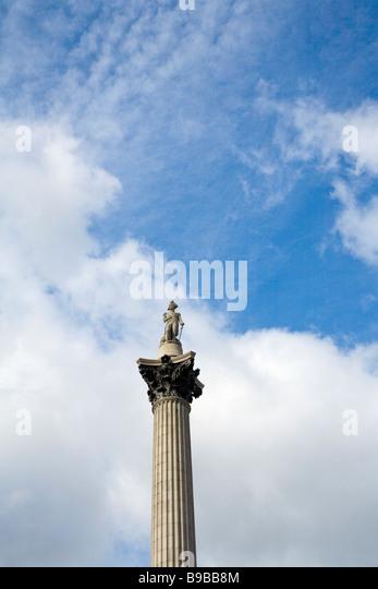 Trafalgar Square Nelson Säule London England Großbritannien Vereinigtes Königreich UK GB britischen Stockbild