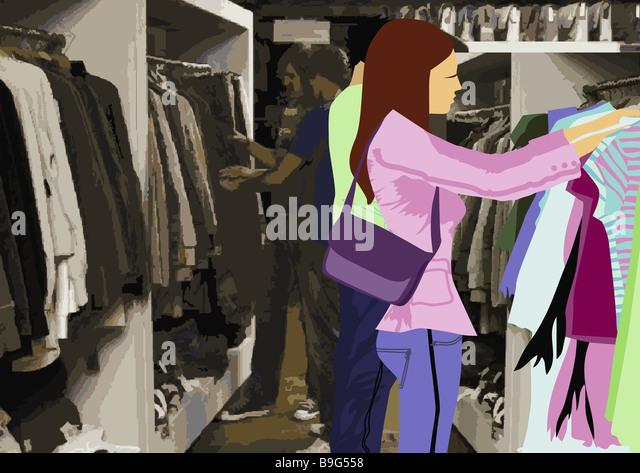 Abbildung Boutique Menschen Jungen Kleidung schaut Kaufhaus Geschäft Einkaufszentren Frau Handtasche Männer Stockbild