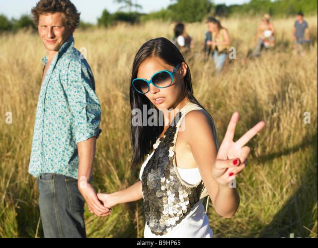 Paar auf einem festival Stockbild