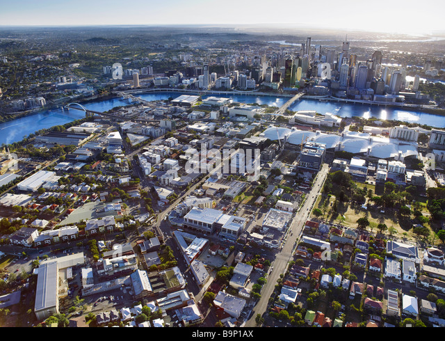 Luftbild des South Brisbane Australien Stockbild