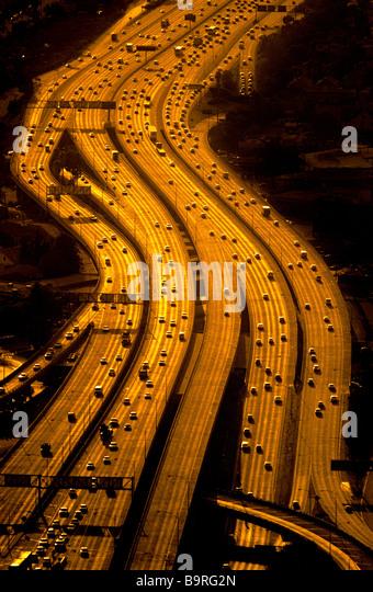 Luftaufnahme von Autobahnen, Los Angeles, Kalifornien. Stockbild