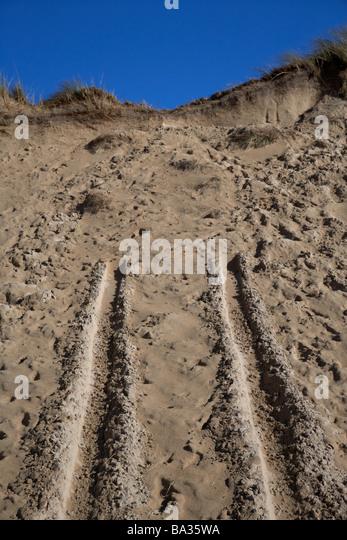 Fahrzeug Spuren im Sand-Dünen bei Lagg auf fünf Finger Strang auf Inishowen Halbinsel Grafschaft Donegal Stockbild