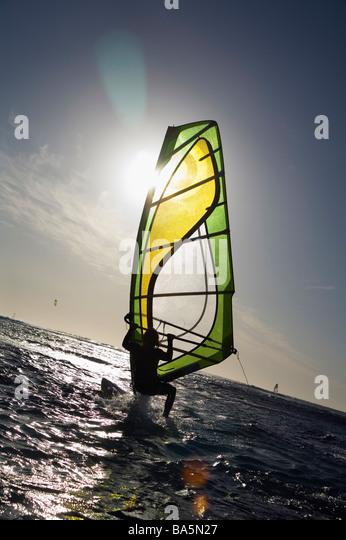 Windsurfer in Aktion auf der Surfer ist Punkt, lokal als Margarets bekannt.  Margaret River, Western Australia, Stockbild