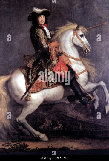 Ludwig XIV., 5.9.1638 - 1.9.1715, König von Frankreich 1643-1715, Reiten, Gemälde von Rene Antoine Houasse, Stockbild