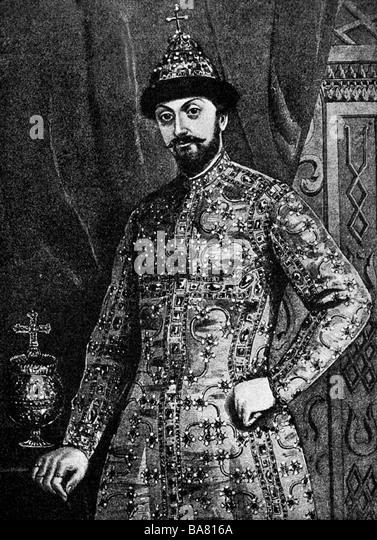 Feodor III Aleksejewitsch, 30.5.1661 - 27.4.1682, Zar af ganz Russland seit 29.1.1676, halbe Länge nach Malerei Stockbild
