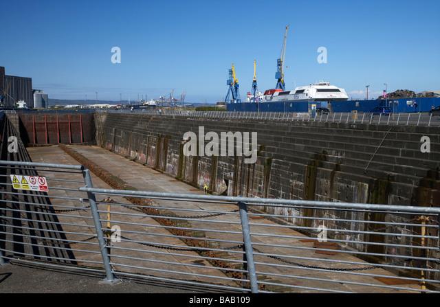 ehemalige Thompsons trocken Graving Dock in titanic Viertel Queens wo die titanic gebaut wurde Insel Belfast Nordirland Stockbild