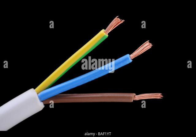 Kern und Erde Elektrokabel Twin wire UK Sicherheitsvorschriften Normen Stockbild