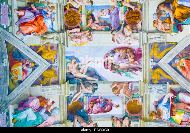 Fresken von Michelangelo in der Sixtinischen Kapelle Stockbild