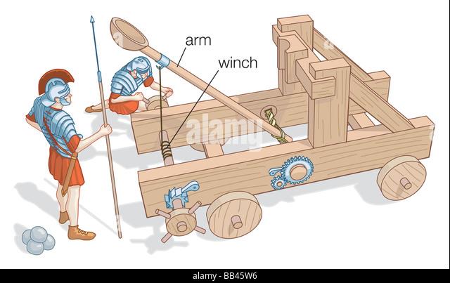 Abbildung von einem kleinen Katapult mit Rädern, würde wie z. B. wurden eingesetzt in der Schlacht. Stockbild