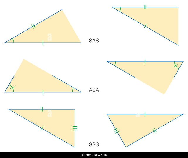 Illustration der drei grundlegende Theoreme, daß Dreiecke kongruent sind: Seite Winkel, Winkel-Seite-Winkel Stockbild