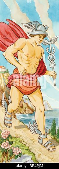 Hermes war Bote der Götter des antiken Griechenlands, oft auf Besorgungen für Zeus geschickt. Römischen Stockbild