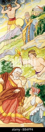 In der griechischen Mythologie wurden die Titanen Giganten, die einst die Welt beherrschte, bis Zeus sie stürzte Stockbild