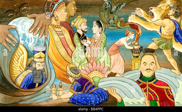 Eine Sammlung von antiken mythologischen Figuren aus der ganzen Welt. Stockbild