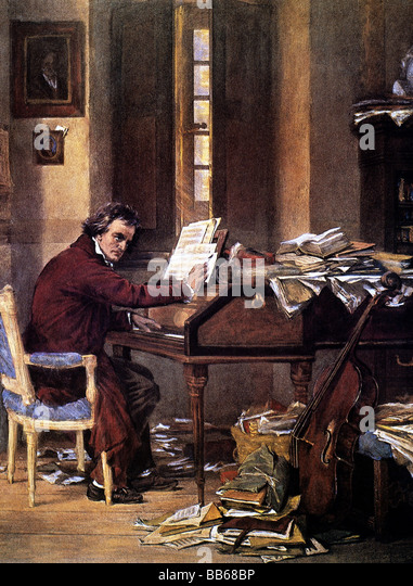 Beethoven, Ludwig van, 17.12.1770 - 26.3.1827, deutscher Komponist, halbe Länge, bei der Arbeit, Gemälde Stockbild