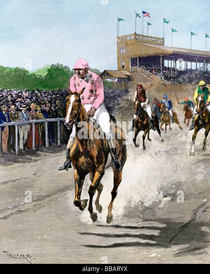 Amerikanische Rennstrecke 1880er Jahre Stockbild