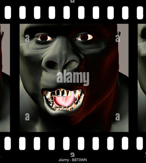 3D Computer generierte Abbildung der Affe im Film-Film-frame Stockbild
