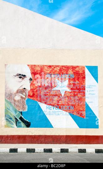 Fidel Castro Wandbild in Cienfuegos, Kuba, Karibik Stockbild