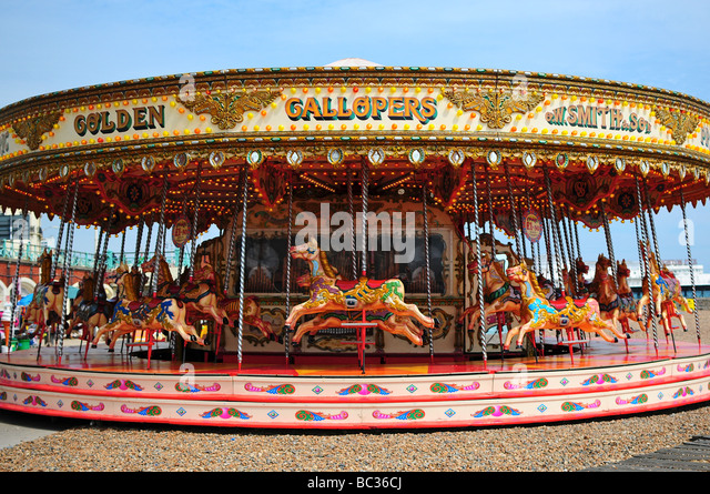 Karussell am Strand von Brighton, Brighton, England Stockbild