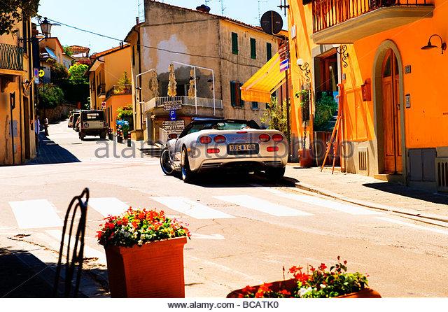 Sportwagen in der Toskana, Italien Stockbild