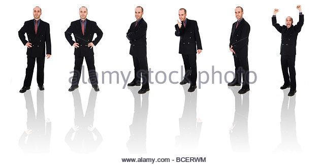 Business-Mann auf einem weißen Hintergrund isoliert Posen Stockbild