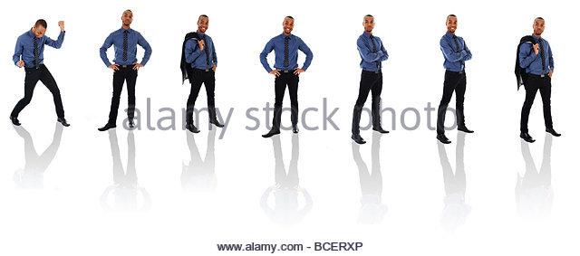 African Business Mann auf einem weißen Hintergrund stellt Stockbild